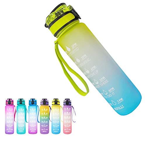 VenVont Botella De Agua para Deportes 1L,Botella De Agua para Adultos/Niños con Filtro,Botella De Plástico Tritan para Bebidas para Gimnasio,Ciclismo,Carrera De Fútbol,Senderismo D