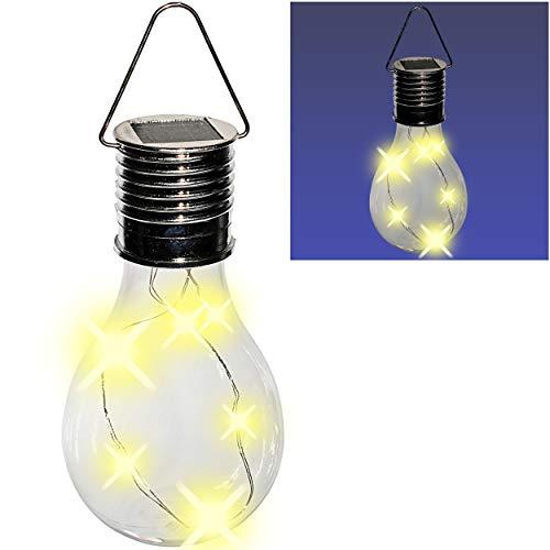 alles-meine.de GmbH SOLAR - LICHT - Glas Glühbirne - Lichterkette - 4 Stück LED - 6 Stunden Leuchtkraft - 15 cm groß - Leuchte transparent durchsichtig - Glühlampe zum Hängen / A..