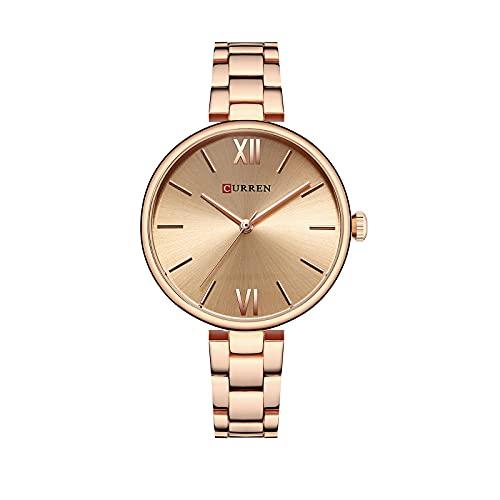 SXLONG Reloj Analógico para Mujer con Pulsera De Aleación De Banda De Acero De Cuarzo Impermeable para Mujer-E