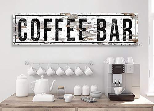 CELYCASY - Cartello da caffè con Stampa su Tela, Decorazione per Cucina, caffetteria, Bar, caffetteria, Bar, Fattoria, Molto Invecchiato, Rustico
