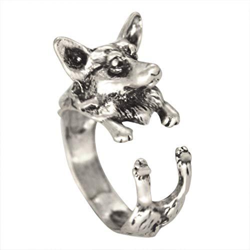 LYLLXL Offene Ringe Für Mann,Vintage Verstellbare Opensilver Niedlichen Tier Schäferhund Form Ring Schmuck Hochzeitsfeier Frauen Männer Paar
