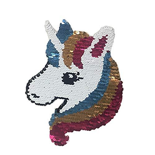 Wilk Netter rosa Einhorn Pferd Sequin-Flecken Glänzende Flecken stickte Eisen auf Flecken für DIY...