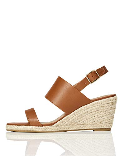Marca Amazon - find. Wedge Two Part Sandalias con cuña Tipo Alpargatas, Braun (Pale Tan), 36 EU