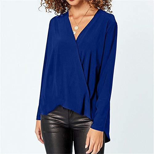 NSSYL damesbovenstuk vrouwen lente v-hals elegante blouses lange mouwen elastische taille blouses shirt kantoor dames slijpen