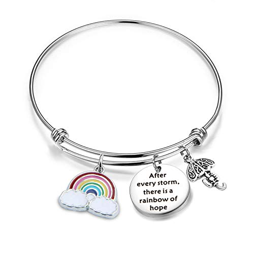 Inspirational Bracelet Encouragement Gift After Every Storm There Is A Rainbow Of Hope Rainbow Charm Bracelet Memorial Jewelry Gift For...