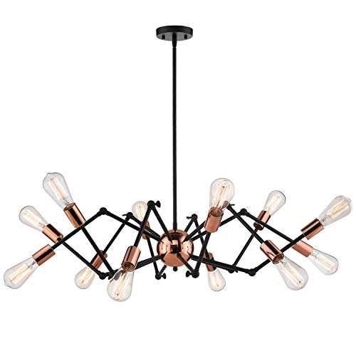Jazava Industrial Sputnik Chandelier, 12-Lights Modern Pendant Light for Farmhouse, Hanging Light Fixture, Adjustable Swing Arms, Black and Rose Gold Finish