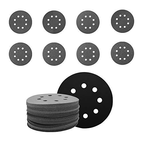 Discos de Lija 125mm, JoaSinc 80 PCS Papel de Lija 320/400/600/800/1000/1200/1500/2000 Granos Papeles de Lija Abrasivos, 8 agujeros Discos de Gancho y bucle, Surtido para lijadora orbital aleatoria