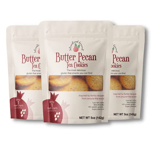 International Gourmet Keto Butter Pecan Tea Cookies Inspired by Family Recipes From Around the World. 3 Pack of Low Carb Keto Mini Cookies, Non-GMO, Gluten Free, Grain Free, Sugar Free, Yeast Free Pecan Cookies. A Diabetic and Celiac Friendly Product.