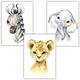 Frechdax Juego de 3 pósteres para habitación Infantil, tamaño DIN A4, diseño de Animales del Bosque, 3er Set Elefant, Löwe, Zebra, DIN A4
