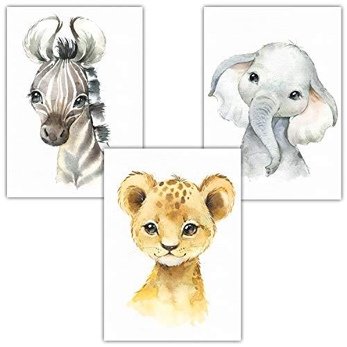 Frechdax® Poster Kinderzimmer Deko im 3er Set | Baby Tiere | Safari Afrika Süß (3er Set Elefant, Löwe, Zebra)