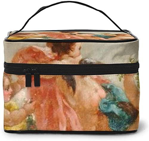 Vintage Baby Angel Winds Flower (3) Diseño grande bolsa de maquillaje para mujer portátil neceser organizador de viaje con cremallera de malla cepillo bolsillo aseo con asa chica
