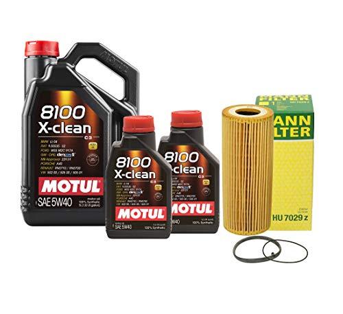 Newparts 7L Motul 8100 XCLEAN 5W40 Mann Filter Motor Oil Change Kit SQ5 3.0L Supercharged for Audi SQ5 3.0L V6 Supercharged FI CTUD 2014-2017 CTUD, CGQB; VW 502.00/505.01/505.00