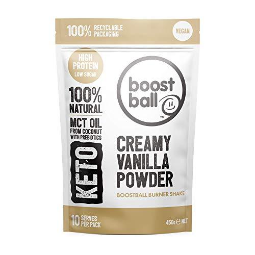 Boostball Keto Protein Powder, Vegan, High Protein, Low Sugar Shake with MCT Powder, Creamy Vanilla, 10 Servings 450g