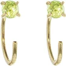 product image for Melissa Joy Manning 14k Gold Peridot Hug Hoop Earrings