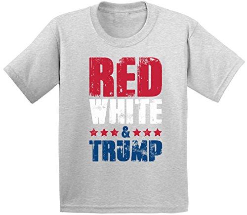 Awkward Styles Red White & Trump Youth Shirt Kids 4th of July Tshirt Trump Gifts Grey L