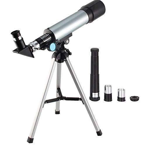 FosCadit Telescope 90X Astronomical Refractive Telescope Optical Glass Metal Tube with Portable Travel Tripod Adjustable Level