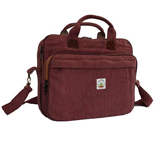 Large Travel Laptop Briefcase Laptop Shoulder Bag 15 inch to 17 inch - Laptop Sleeve Shoulder Messenger Satchel Bag for Mens and Womens – Handmade by hemp Hemisphere (Maroon)