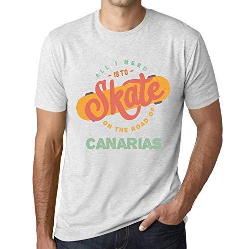 Hombre Camiseta Vintage T-Shirt Gráfico On The Road of Canarias Blanco Moteado
