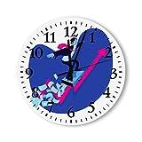 DKISEE Reloj de pared redondo de madera para dormitorio, sala de estar o casa, silencioso y sin garrapatas, diseño de hombre de negocios, surfes, con texto en inglés 'Exitos'
