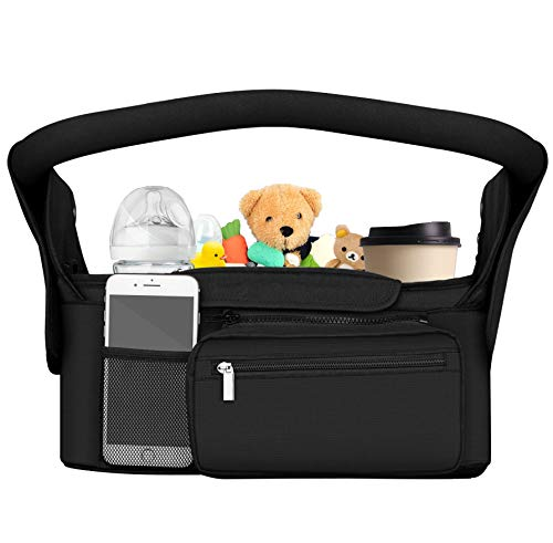 DTNO.I Baby Stroller Organizer with Cup Holders, Universal Stroller Organizer with Shoulder Strap & Detachable Zippered Bag, Baby Trend Stroller Organizer Bag Fits Uppababy, Baby Jogger, BOB & Britax
