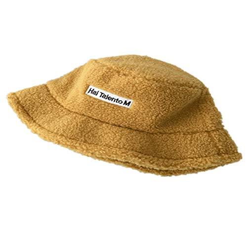CZYTN Red Hat para mujer, otoño e invierno, versión KorUPC de cachemira Day Series perfecto para invierno sombrero de pescador Amarillo amarillo Talla única