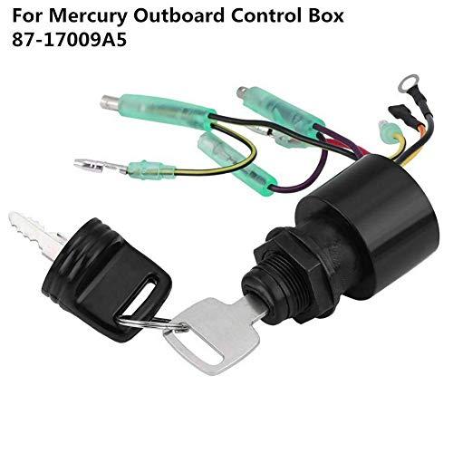 Gcdn Interruptor de Encendido para Mercury Fueraborda Control Remoto Caja 87-17009A5, Barco Encendido Interruptor Llave, 6 Pin Interruptor de Encendido con 2 Llaves para Barco, Moto, Enchufe y Juego