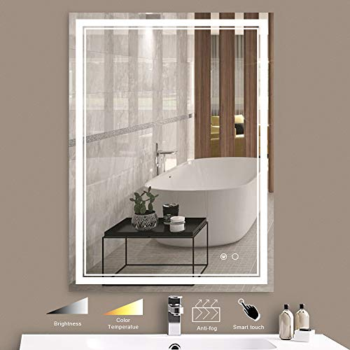 Keonjinn 36 x 28 Inch LED Bathroom Vanity Mirrors Wall Mounted Anti-Fog & Dimmer Touch Switch Mirror,Adjustable White/Warm/Natural Lights(Horizontal/Vertical)
