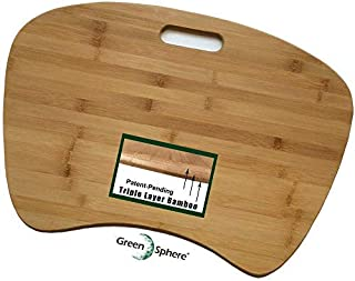 Triple-Layer Bamboo Lap Desk for Laptop   Patent-Pending Unbreakable Construction   Jumbo Size with Detachable Cushion   Eco Friendly