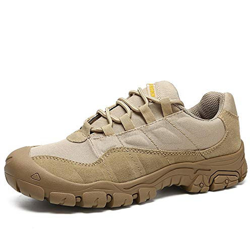 Trainer Wanderschuhe,Zapatillas Deportivas Zapatos para Correr,Botas tácticas Zapatos de Senderismo Zapatos de Exterior de Gran tamaño Transpirables y Bajos-Caqui Canvas_44#