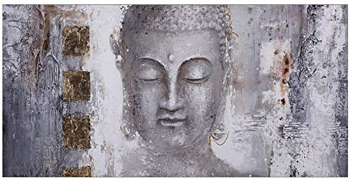 Tankaa Cuadro en lienzo abstracto de religión Zen con cara de Buda, pintura sobre lienzo y cuadros impresos, cuadros de pared, para sala de estar, 60 x 120 cm, sin marco