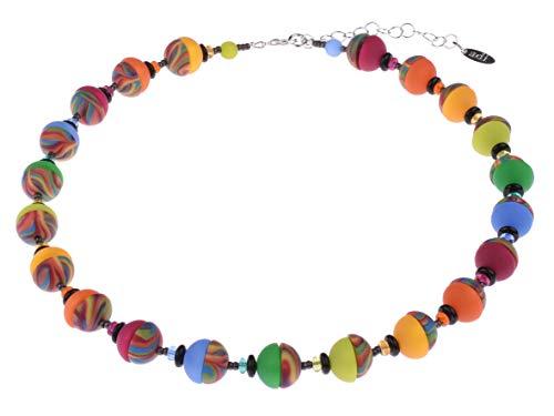 Adi Modeschmuck originelle Halskette \'Jenny\' aus 12mm Polaris- und Zebra Halbperlen, Glasscheibchen und geschwärzten Messingperlchen, handgefertigt in Berlin