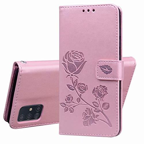 XIFAN Hülle für Samsung Galaxy S10 Lite/A91, [3D-Reliefmuster] Leder Flip Brieftasche Case mit TPU-Innenschale, Kartenfächern, Geldbeutel und Standfunktion, Rosa