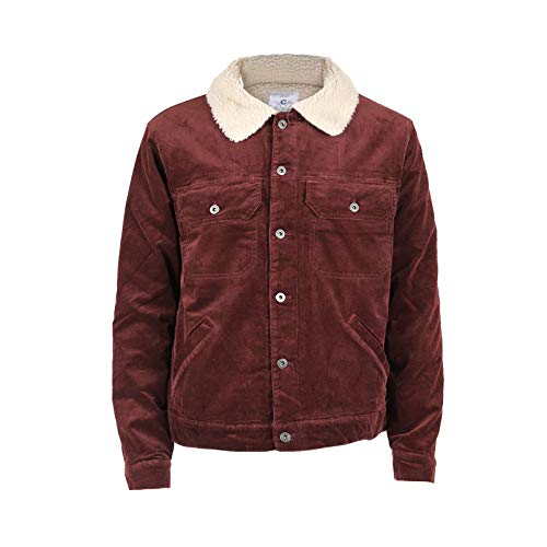 Beautiful Giant Men's Corduroy Trucker Jacket Button Up Vintage Sherpa Lined Denim Jacket