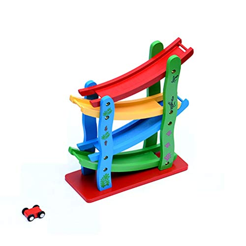 Holz-Spielzeug-Auto-Buggy Racing Slide Ramp-Spielzeug for Kinder Puzzle Spaß-Auto mit 4 Mini Model Car-Jungen-Mädchen-Baby-Spielzeug-Auto, Geeignet for mehr als 12 Monate ( Farbe : Basic version )