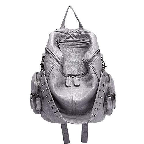 Hanggg Zaino in pelle di montone Zaino con borchie Fashion Street Trend Borsa da viaggio di grande capacità