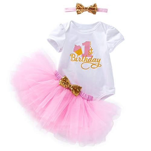 Gaga city 3 Pezzi Abiti Vestito Bambina Neonata Primo Compleanno Abbigliamento Principesse Manica Corta Pagliaccetto+Tutu Gonna+Fascia
