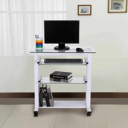 HUIJK Computer Workstation Laptop PC Desk Glass Table Stand w/Wheels
