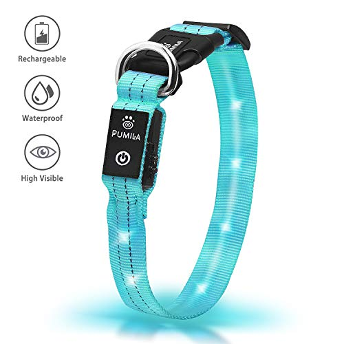 Pumila LED Dog Collar - Rechargeable Dog Collars, Flashing Light Collar for Small, Medium, Large Dogs, Basic Dog Collars