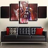 104Tdfc NBA Center Forward El Proceso Joel Embiid Impresiones sobre Lienzo 5 Piezas Modern Painting Wall Art Modular Decoración Pared Póster Decoración para El Hogar