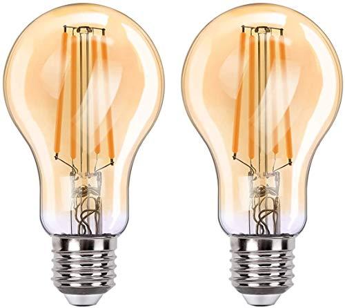 Orbecco [2PZS] Bombilla Inteligente Wi-Fi ST64 de 7.5 Vatios de Luz Blanca Cálida, Bombilla LED con Base E27 2700K Vintage, Bombilla Ahorro de Energía para Alexa, Google Home - Leonado