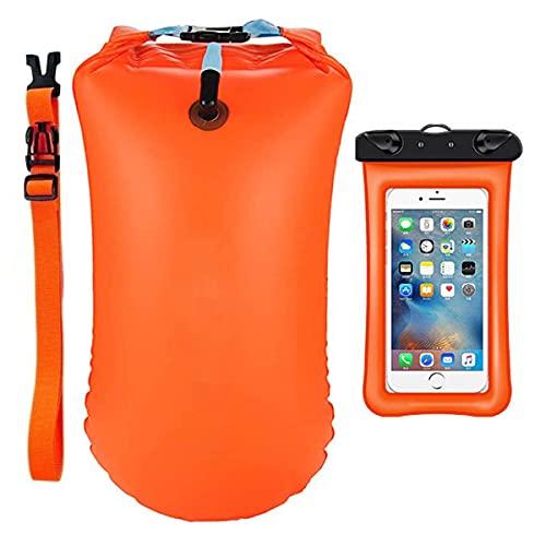 LEKIA Boa galleggiante ad alta visibilità per adulti con tasca a secco, IPX8, custodia impermeabile per acqua aperta, boa di salvataggio per nuoto, triathlon, snorkeling