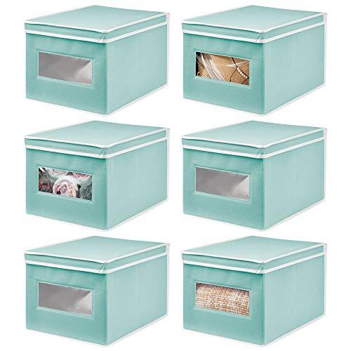mDesign Caja de Tela – Práctico Organizador de armarios con Tapa abatible para Dormitorio, salón o baño – Caja de almacenaje apilable de Fibra sintética Transpirable – Juego de 6 – Turquesa/Blanco