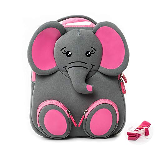 Cocomilo 12' Cute 3D Toddler Kids elephant Backpack for Boys Girls Leash Name Label (Grey/Pink)