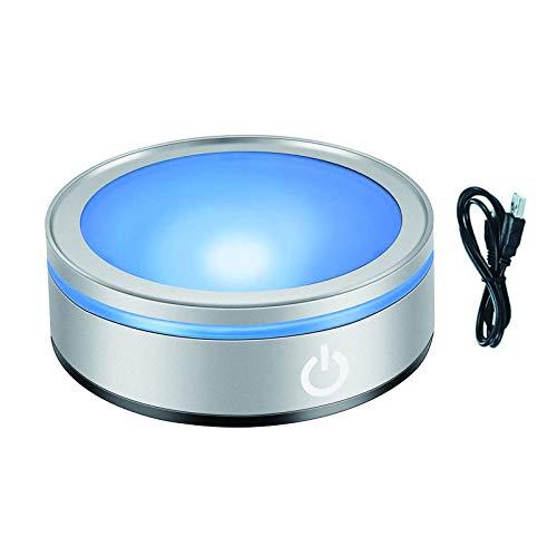 CDIYTOOL Base de lumière LED multicolore ronde pour présentoir en verre 3D avec interrupteur tactile sensible [Classe énergétique A+] (base plate)