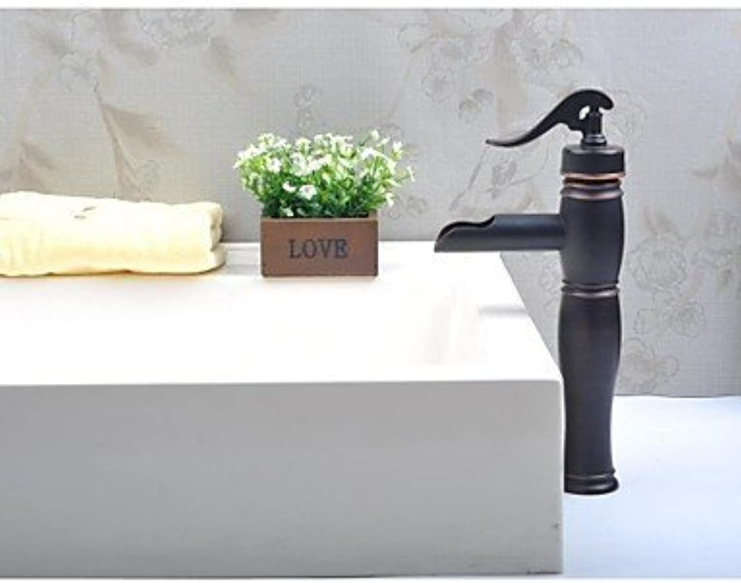 SEBAS HOME Basin Tap Waterfall Brass Oil-rubbed Bronze Bathroom Faucet Basin Mixer Tap