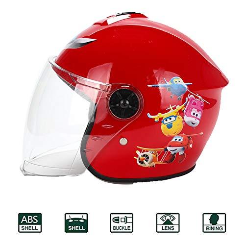 Halbhelme Motocross Helm Kinder,Downhill Helm Kinder ECE-geprüft Winter Rollerhelm Motorradhelm Cross Schutzhelm Helm Mopedhelm Sicherheit Schutz mit Doppelter Schutzbrille für Kinder,Rot