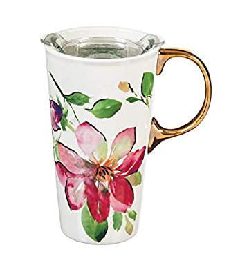 Red Blossom Ceramic Travel Mug With Metallic Grip