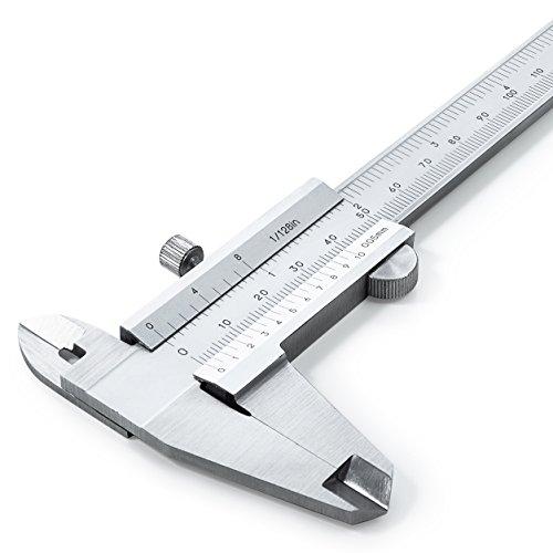 Analog Messschieber Nonius 150 mm aus rostfreiem Edelstahl - hohe Messgenauigkeit (DIN862) - erstklassige Qualität mit Tiefen-, Innen-, und Außenmessung - 0,05 mm Ablesung - inkl. Etui