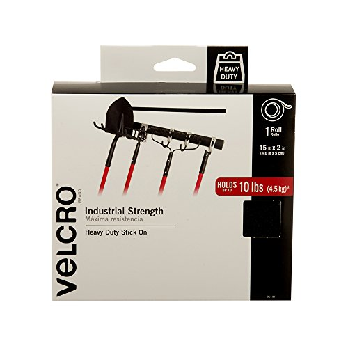 VELCRO Brand Industrial Strength Fasteners | Stick-On Adhesive | Professional Grade Heavy Duty Strength Holds up to 10 lbs on Smooth Surfaces | Indoor Outdoor Use | 15ft x 2in Tape, Black