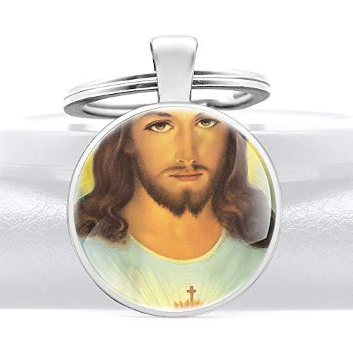 YXDEW Cristo Jesús diseñado Vidrio cabujón Metal Colgante Llavero Encanto Hombres Mujeres Llavero Anillo joyería Regalos llaveros llaveros Accesorios